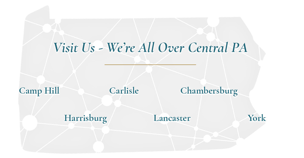 Pennsylvania dot mesh graphic, showing camphill, carlisle, Chambersburg, harrisburg, Lancaster and york