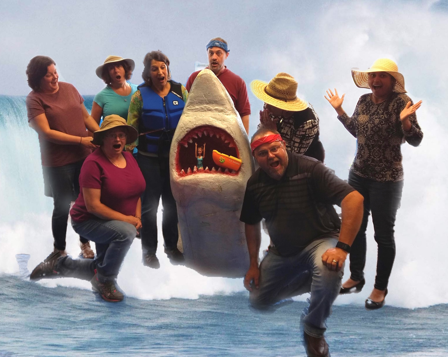 JFC staffing team having fun with a great white shark